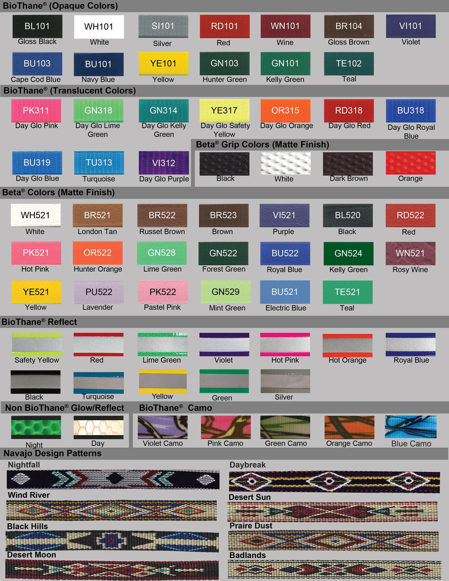 Beta Biothane Color Chart 2017