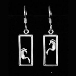 Jjeni Duet Silver Horse Earrings For